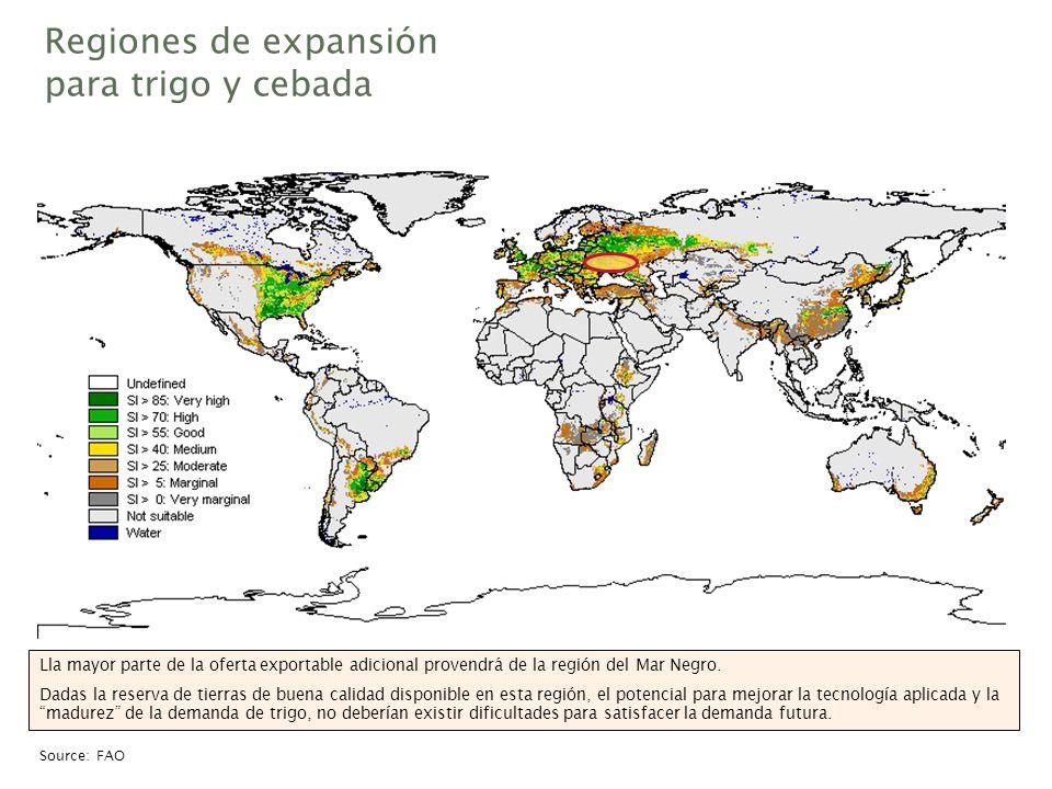 Regiones de expansión para trigo y cebada