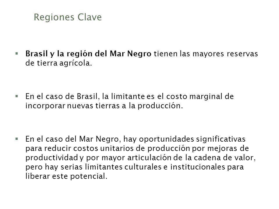 Regiones Clave Brasil y la región del Mar Negro tienen las mayores reservas de tierra agrícola.