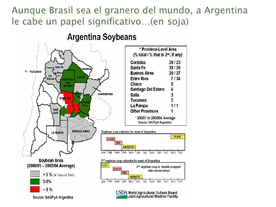 Aunque Brasil sea el granero del mundo, a Argentina le cabe un papel significativo…(en soja)