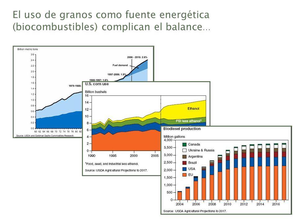 El uso de granos como fuente energética (biocombustibles) complican el balance…