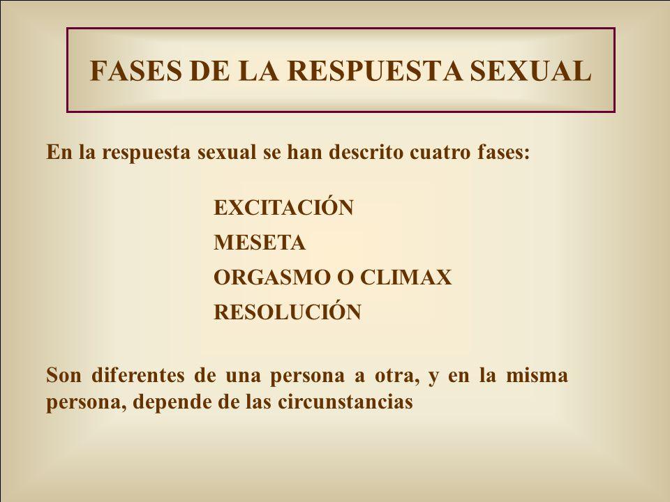 FASES DE LA RESPUESTA SEXUAL