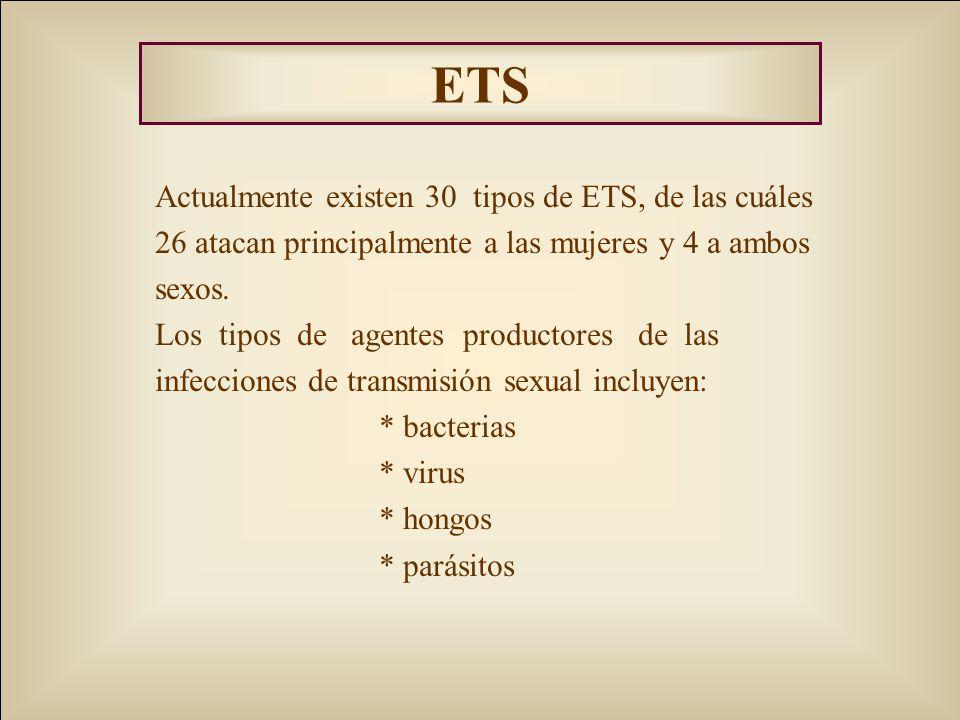 ETS Actualmente existen 30 tipos de ETS, de las cuáles