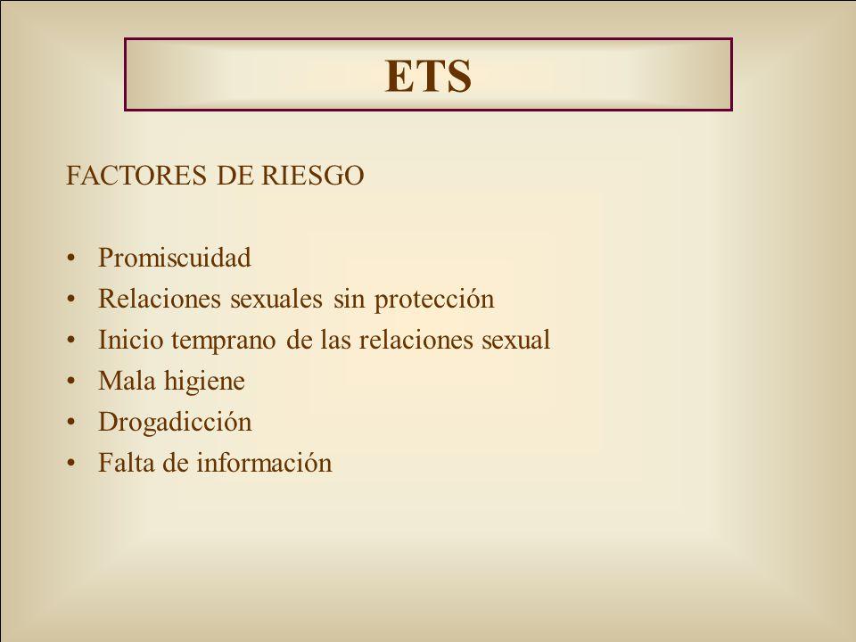 ETS FACTORES DE RIESGO Promiscuidad Relaciones sexuales sin protección