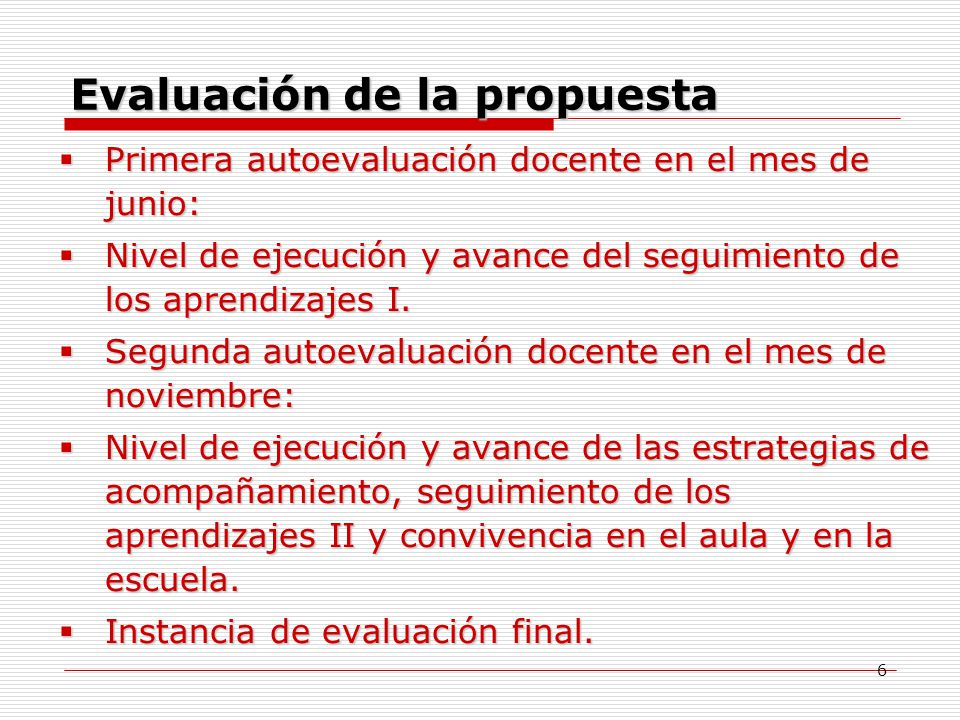 Evaluación de la propuesta