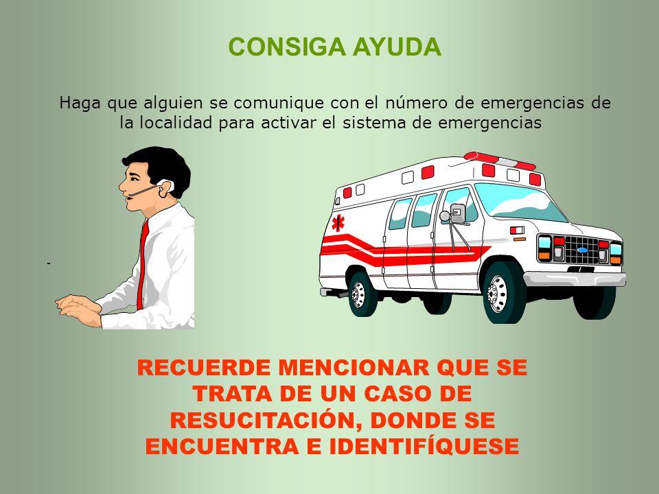 CONSIGA AYUDA Haga que alguien se comunique con el número de emergencias de la localidad para activar el sistema de emergencias
