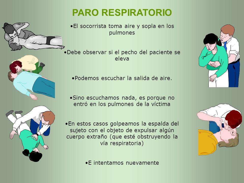 PARO RESPIRATORIO El socorrista toma aire y sopla en los pulmones