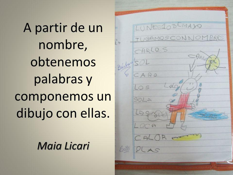 A partir de un nombre, obtenemos palabras y componemos un dibujo con ellas. Maia Licari