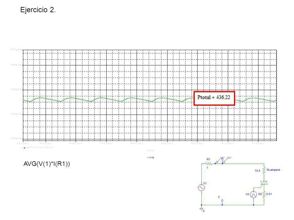 Ejercicio 2. AVG(V(1)*I(R1)) 500W 400W 300W 200W 100W 0W 0s 0.2s 0.4s