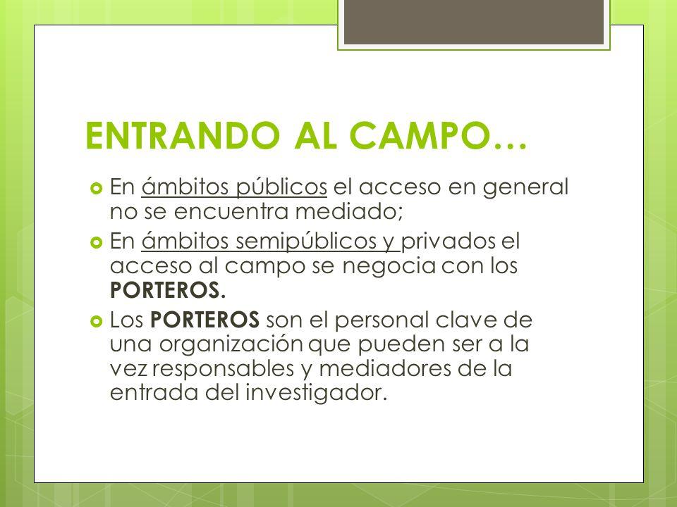 ENTRANDO AL CAMPO… En ámbitos públicos el acceso en general no se encuentra mediado;
