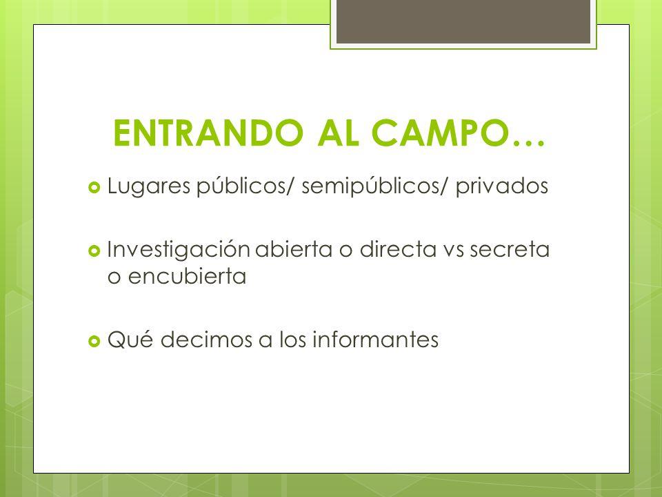 ENTRANDO AL CAMPO… Lugares públicos/ semipúblicos/ privados