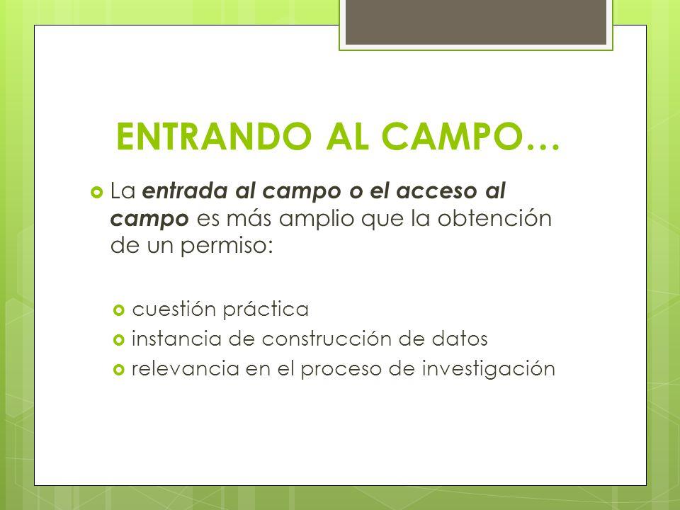 ENTRANDO AL CAMPO… La entrada al campo o el acceso al campo es más amplio que la obtención de un permiso: