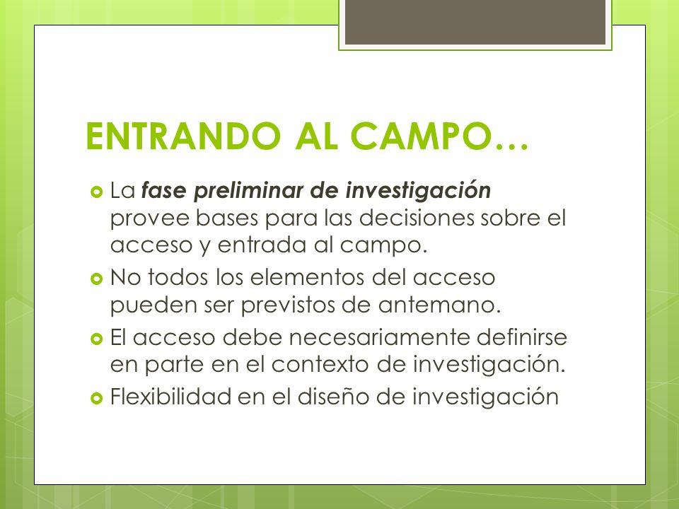 ENTRANDO AL CAMPO… La fase preliminar de investigación provee bases para las decisiones sobre el acceso y entrada al campo.