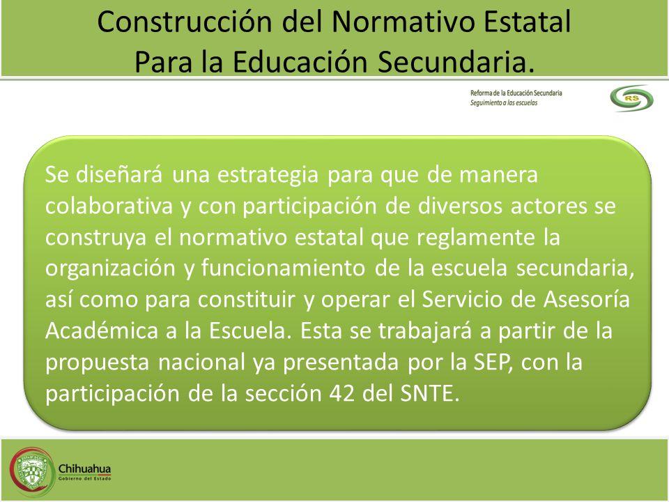 Construcción del Normativo Estatal Para la Educación Secundaria.