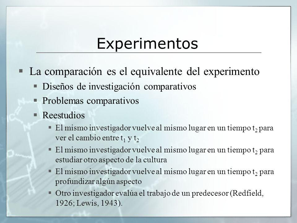 Experimentos La comparación es el equivalente del experimento