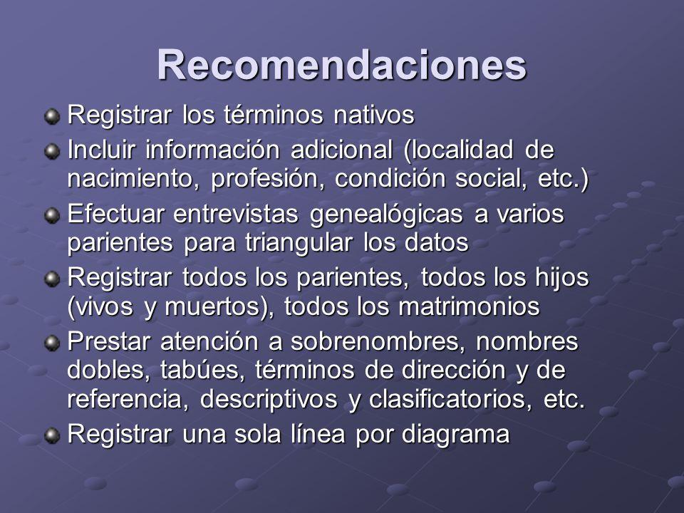 Recomendaciones Registrar los términos nativos