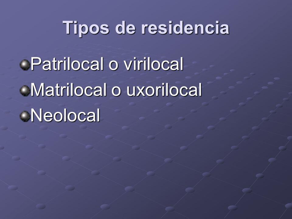 Tipos de residencia Patrilocal o virilocal Matrilocal o uxorilocal Neolocal
