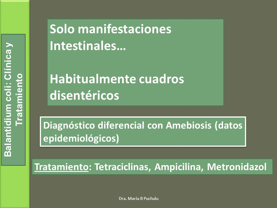 Balantidium coli: Clínica y Tratamiento