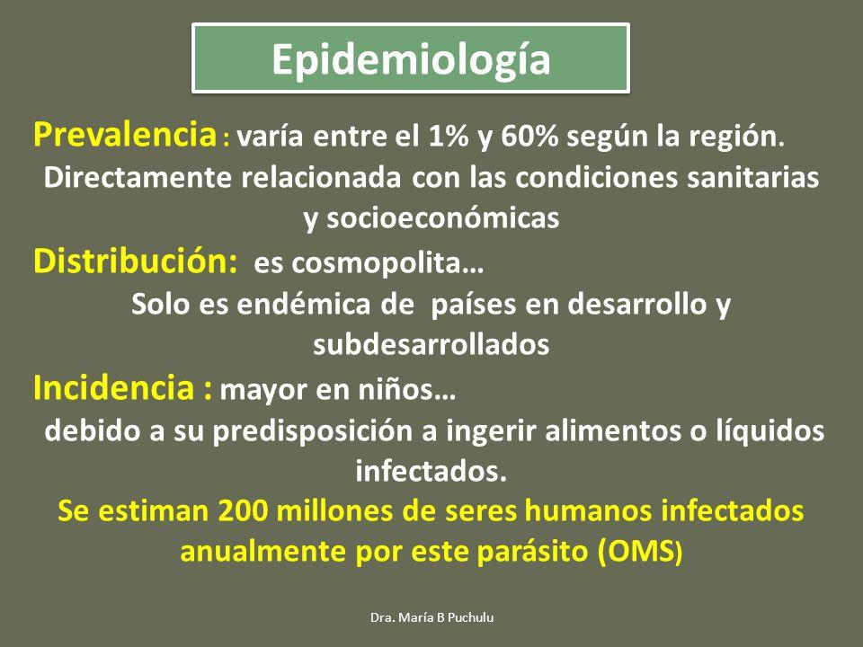 Epidemiología Prevalencia : varía entre el 1% y 60% según la región.