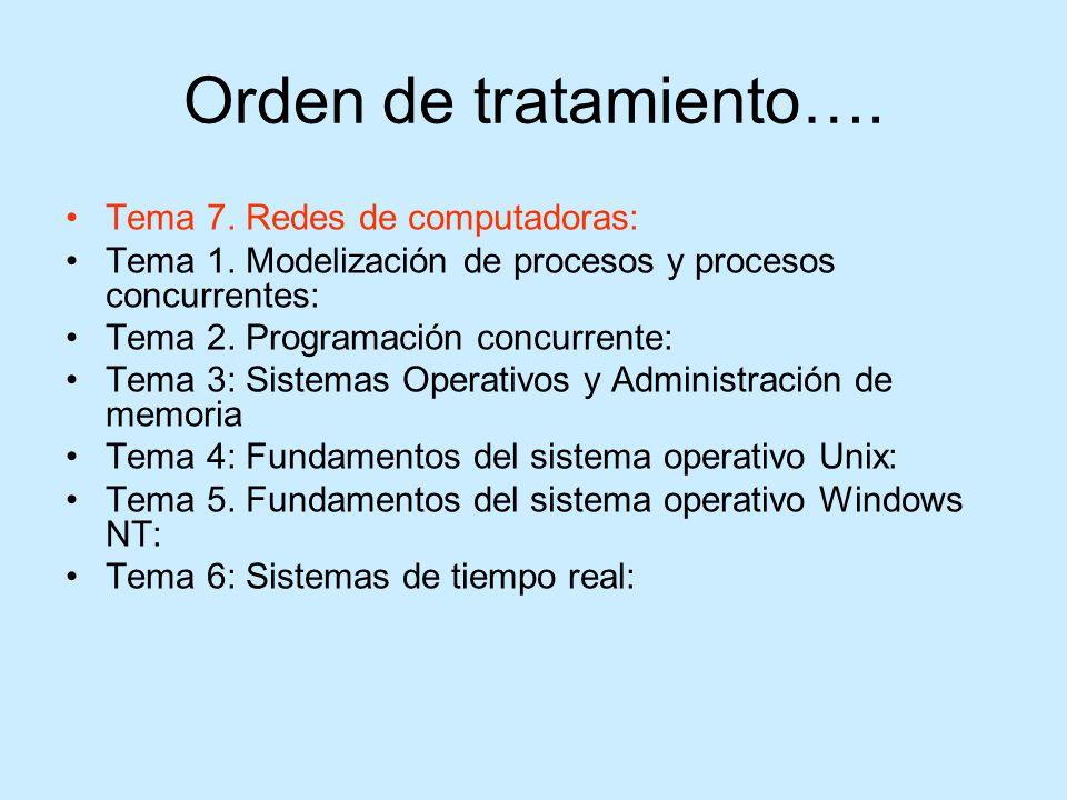 Orden de tratamiento…. Tema 7. Redes de computadoras:
