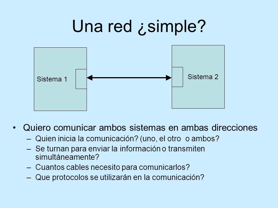 Una red ¿simple Quiero comunicar ambos sistemas en ambas direcciones