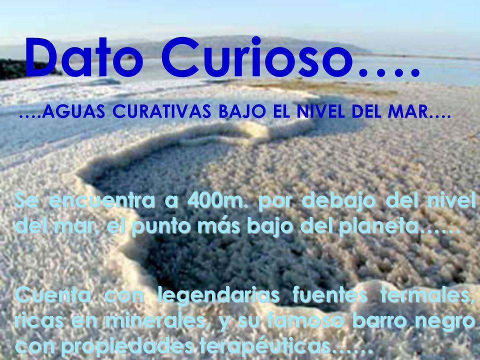 Dato Curioso…. ….AGUAS CURATIVAS BAJO EL NIVEL DEL MAR…. Se encuentra a 400m. por debajo del nivel del mar, el punto más bajo del planeta……