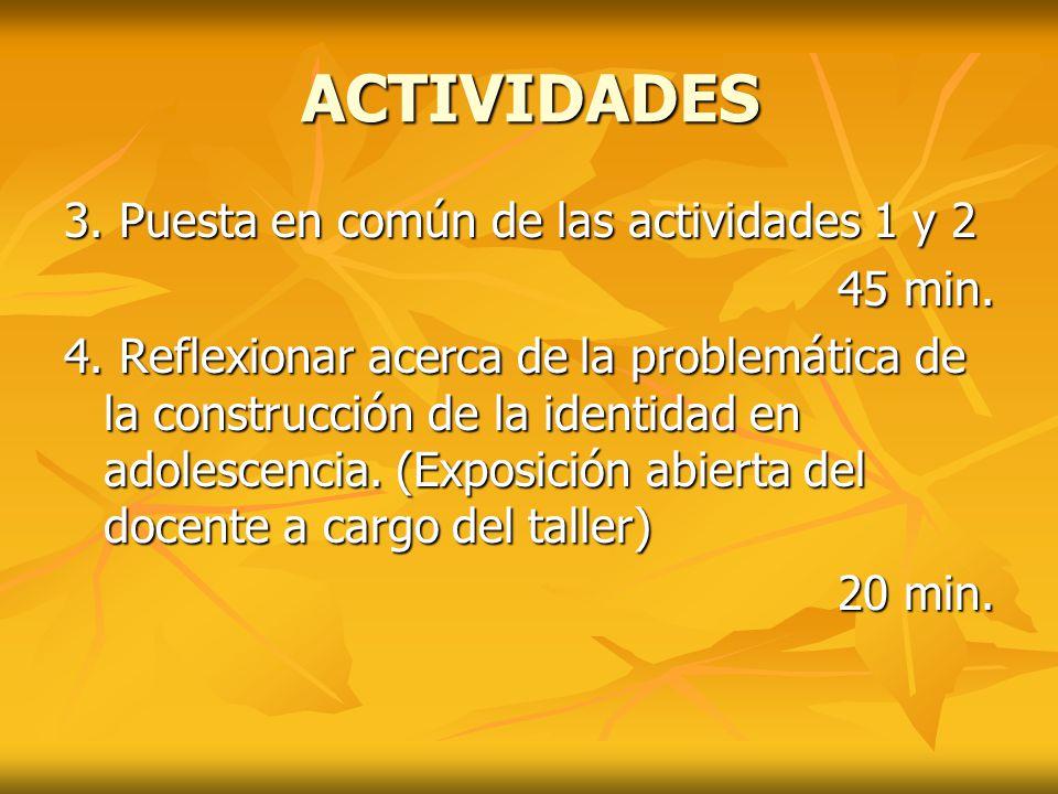 ACTIVIDADES 3. Puesta en común de las actividades 1 y 2 45 min.