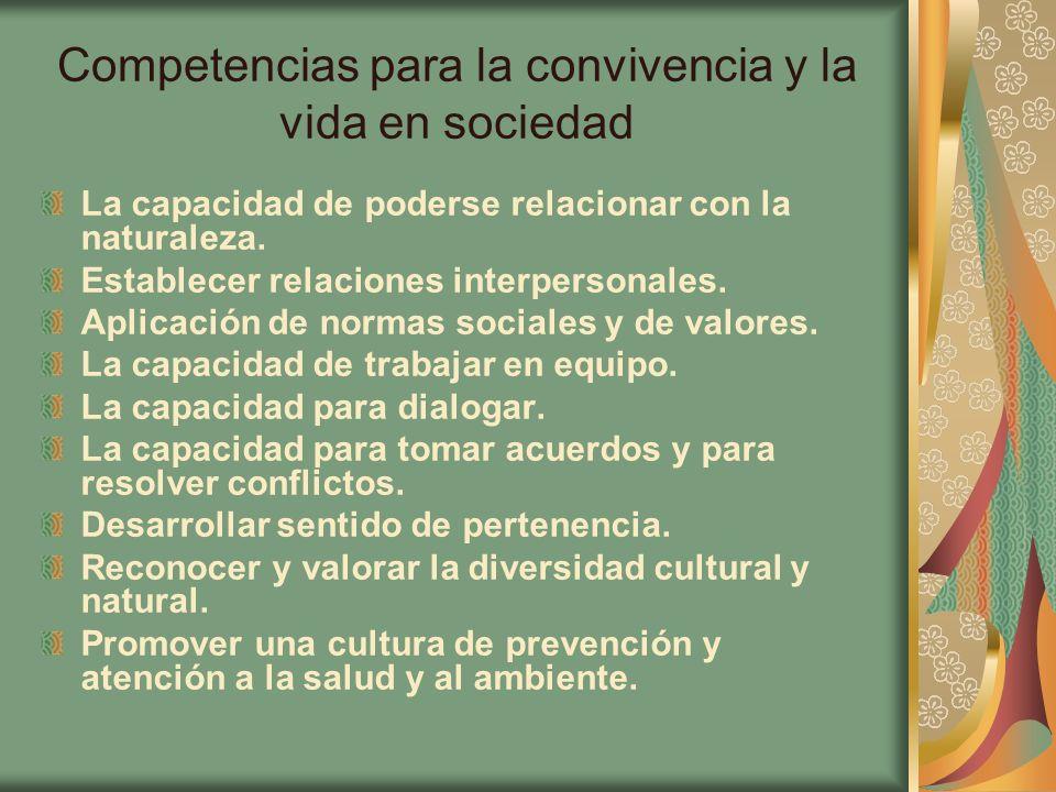 Competencias para la convivencia y la vida en sociedad
