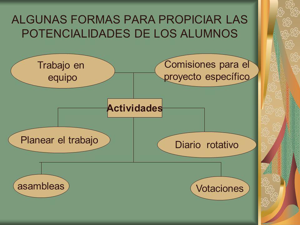 ALGUNAS FORMAS PARA PROPICIAR LAS POTENCIALIDADES DE LOS ALUMNOS