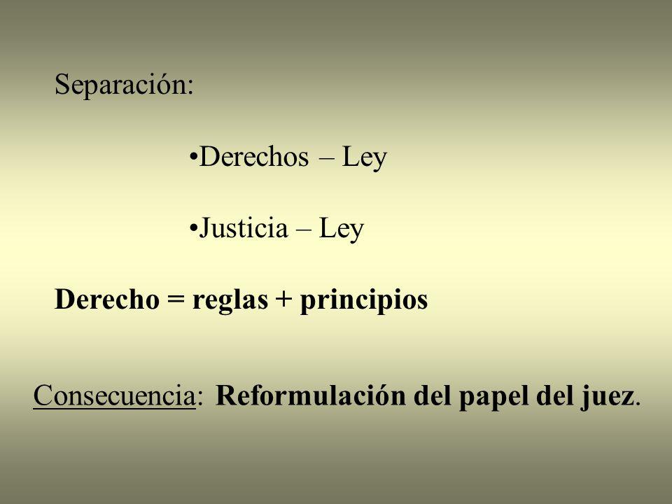 Separación: Derechos – Ley. Justicia – Ley. Derecho = reglas + principios.