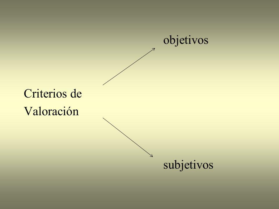 objetivos Criterios de Valoración subjetivos