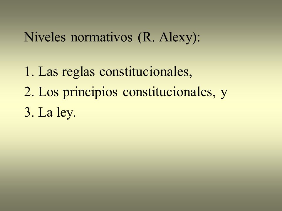 Niveles normativos (R. Alexy):