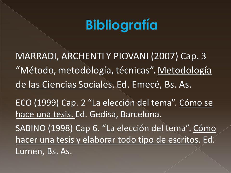 Bibliografía MARRADI, ARCHENTI Y PIOVANI (2007) Cap. 3 Método, metodología, técnicas . Metodología de las Ciencias Sociales. Ed. Emecé, Bs. As.