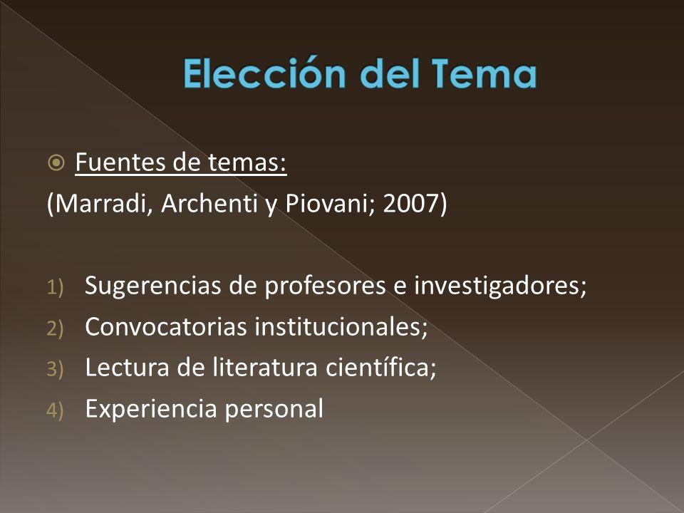 Elección del Tema Fuentes de temas: