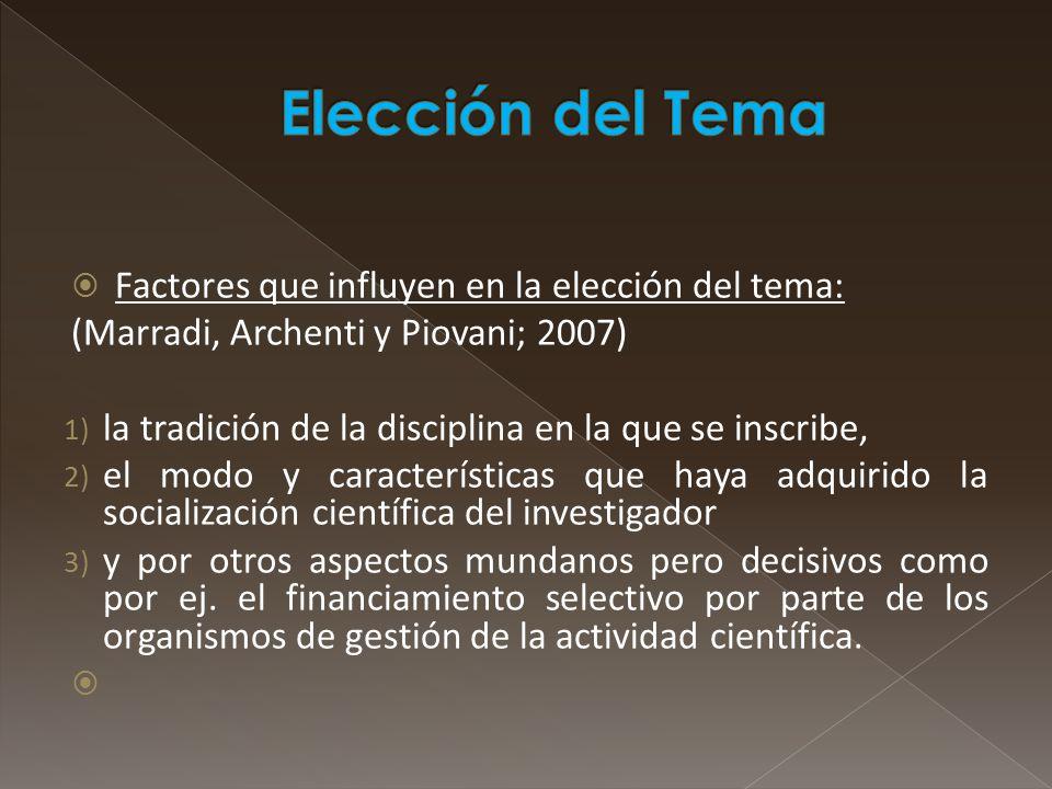 Elección del Tema Factores que influyen en la elección del tema: