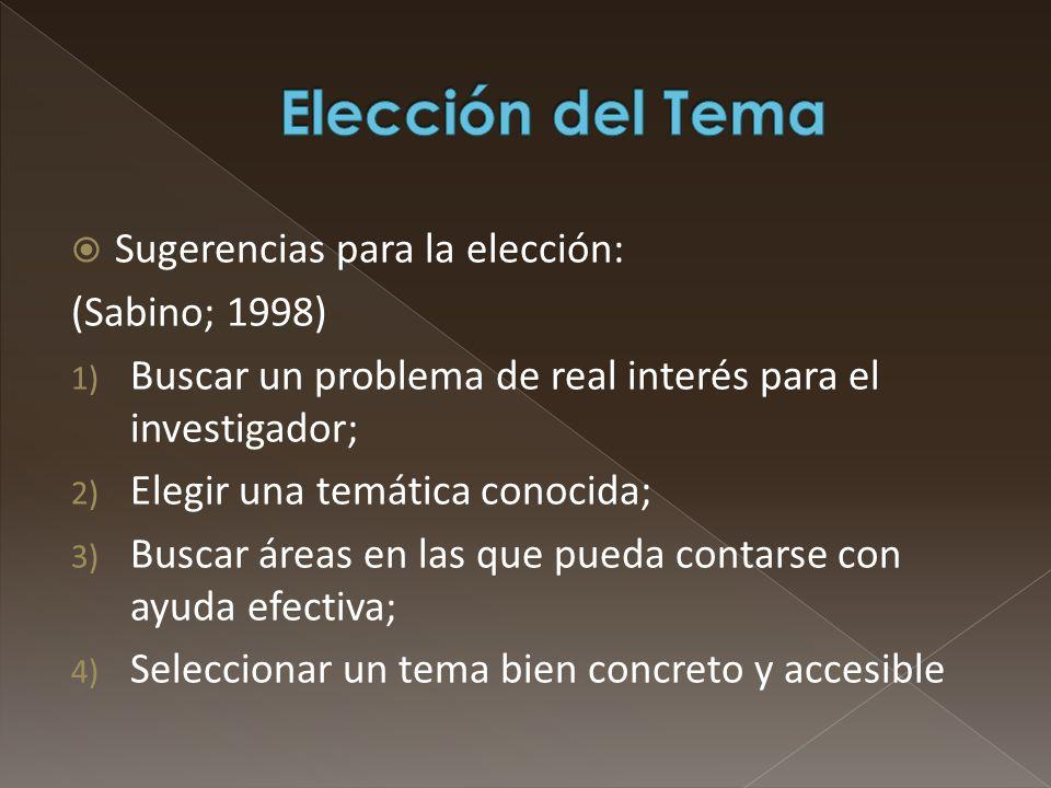 Elección del Tema Sugerencias para la elección: (Sabino; 1998)