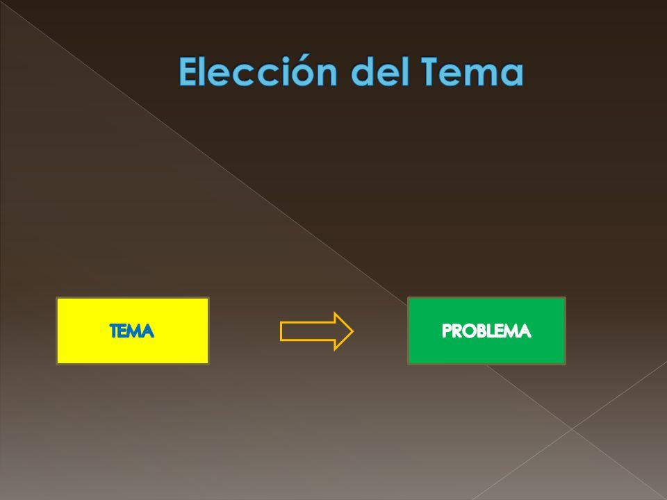 Elección del Tema TEMA PROBLEMA