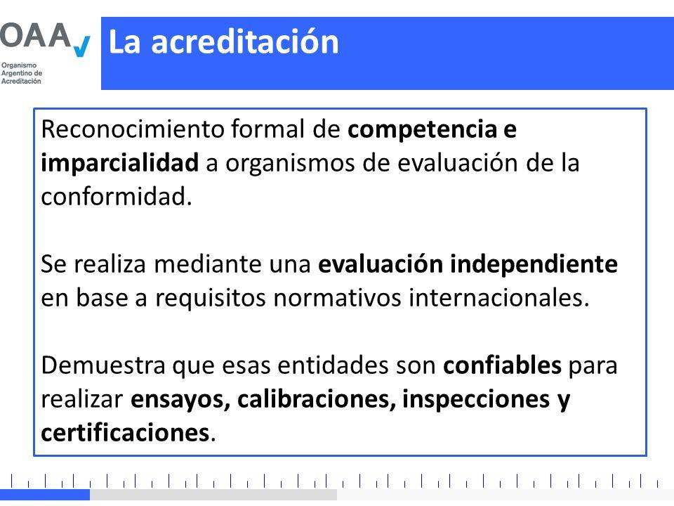 La acreditación Reconocimiento formal de competencia e imparcialidad a organismos de evaluación de la conformidad.