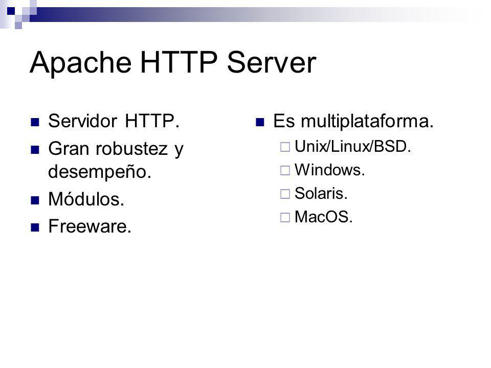 Apache HTTP Server Servidor HTTP. Gran robustez y desempeño. Módulos.