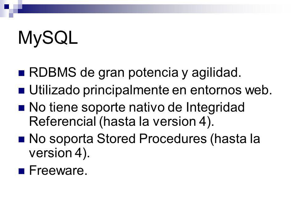 MySQL RDBMS de gran potencia y agilidad.