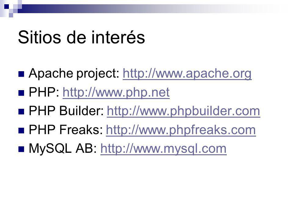 Sitios de interés Apache project: http://www.apache.org