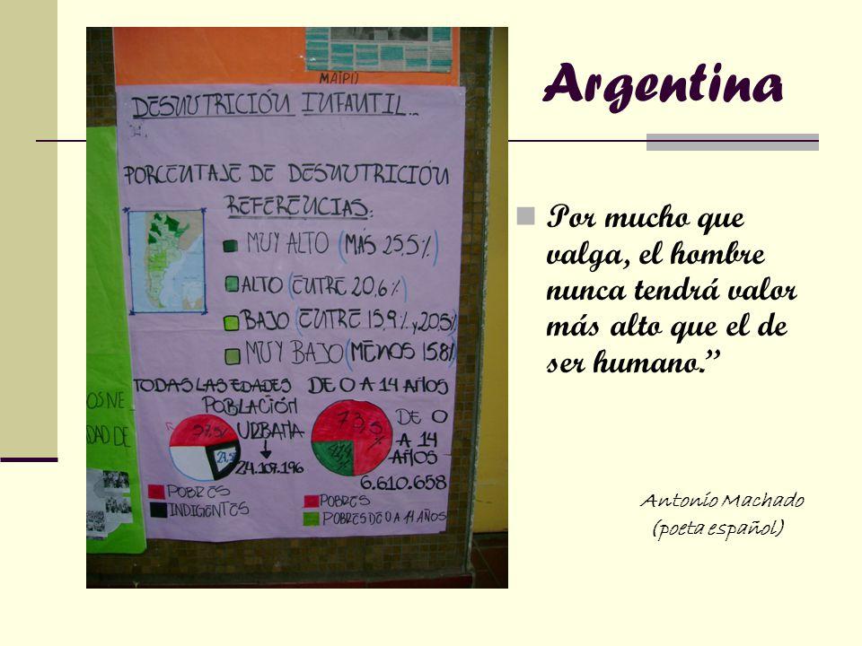 Argentina Por mucho que valga, el hombre nunca tendrá valor más alto que el de ser humano. Antonio Machado.