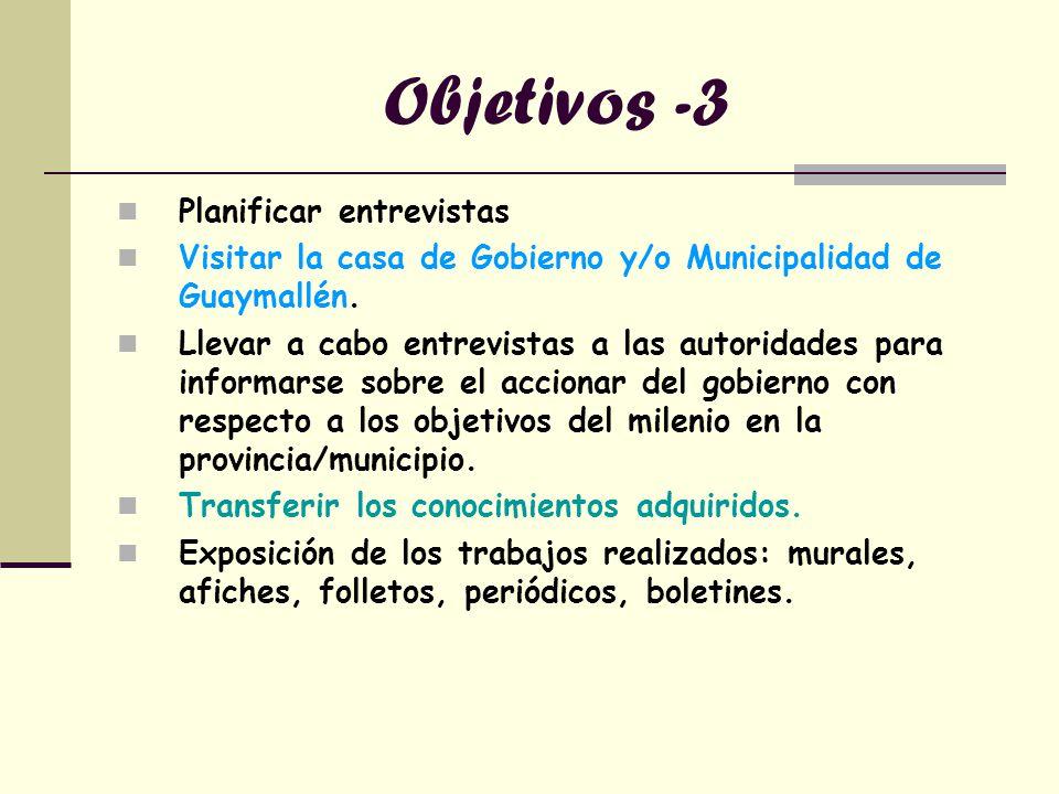 Objetivos -3 Planificar entrevistas