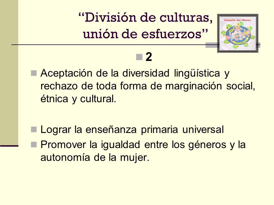 División de culturas, unión de esfuerzos