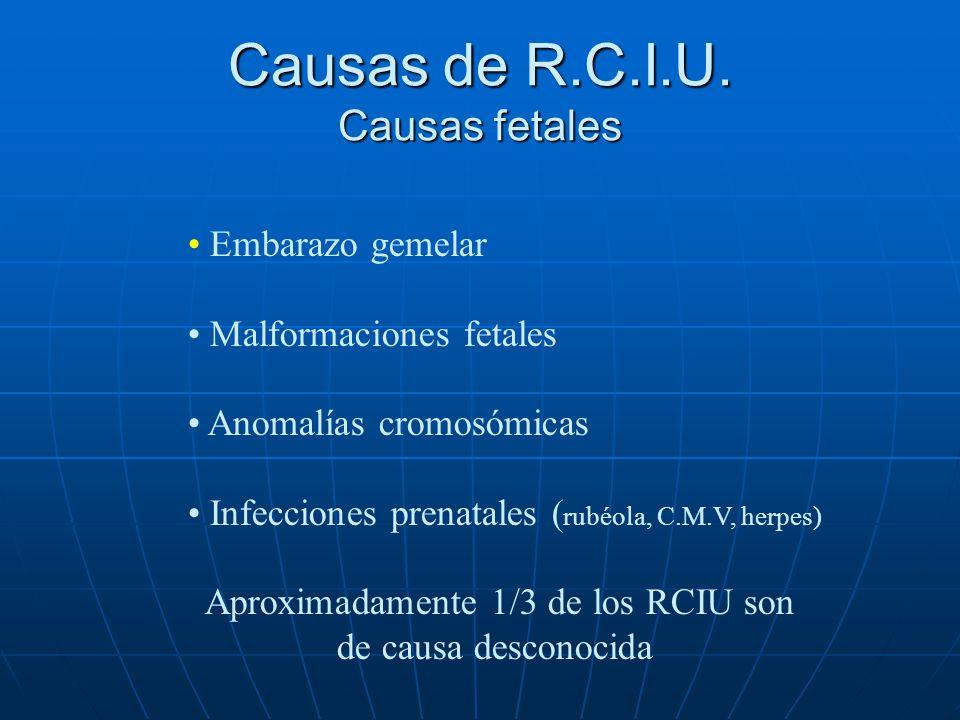 Causas de R.C.I.U. Causas fetales