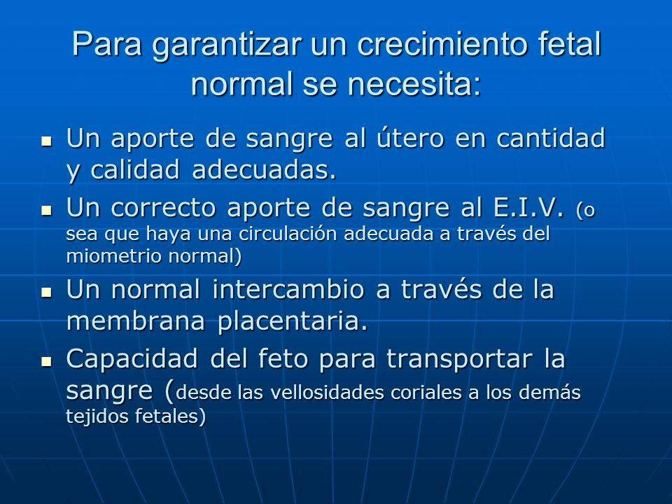 Para garantizar un crecimiento fetal normal se necesita: