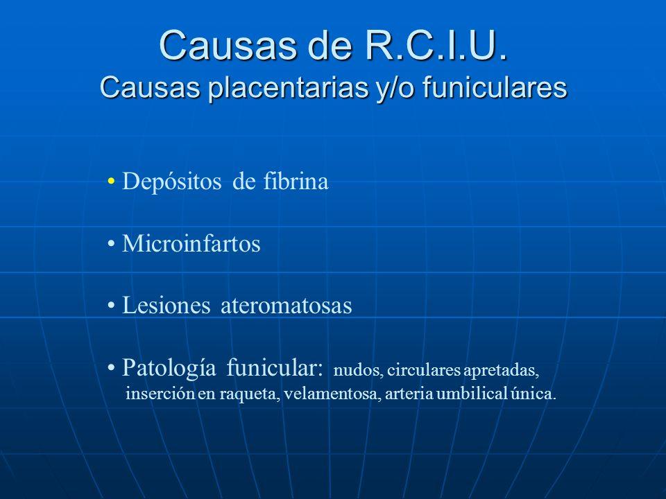 Causas de R.C.I.U. Causas placentarias y/o funiculares