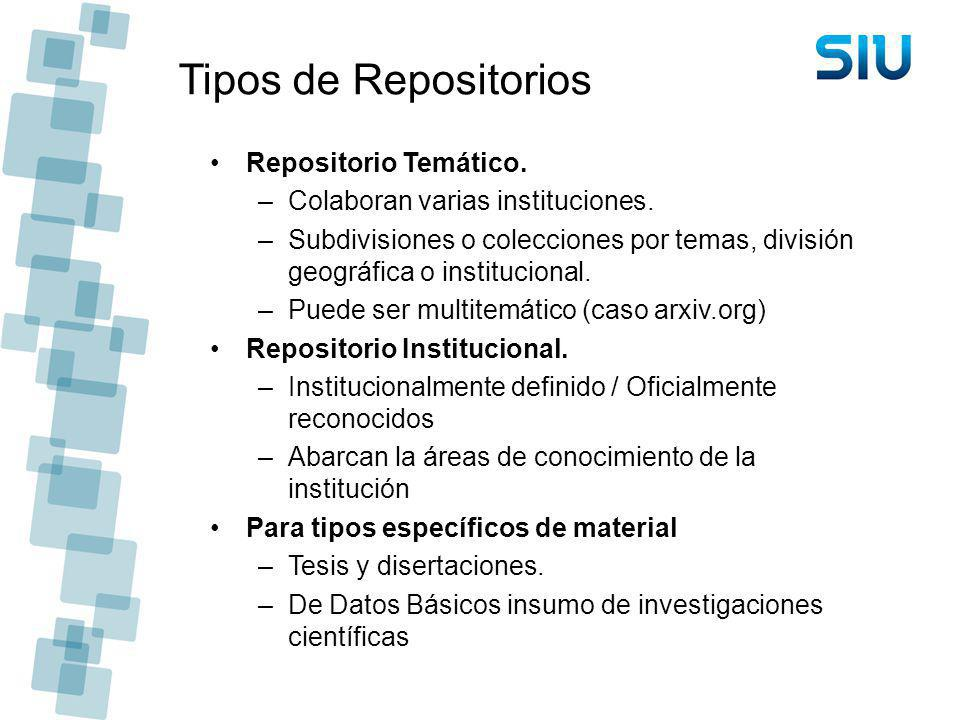 Tipos de Repositorios Repositorio Temático.