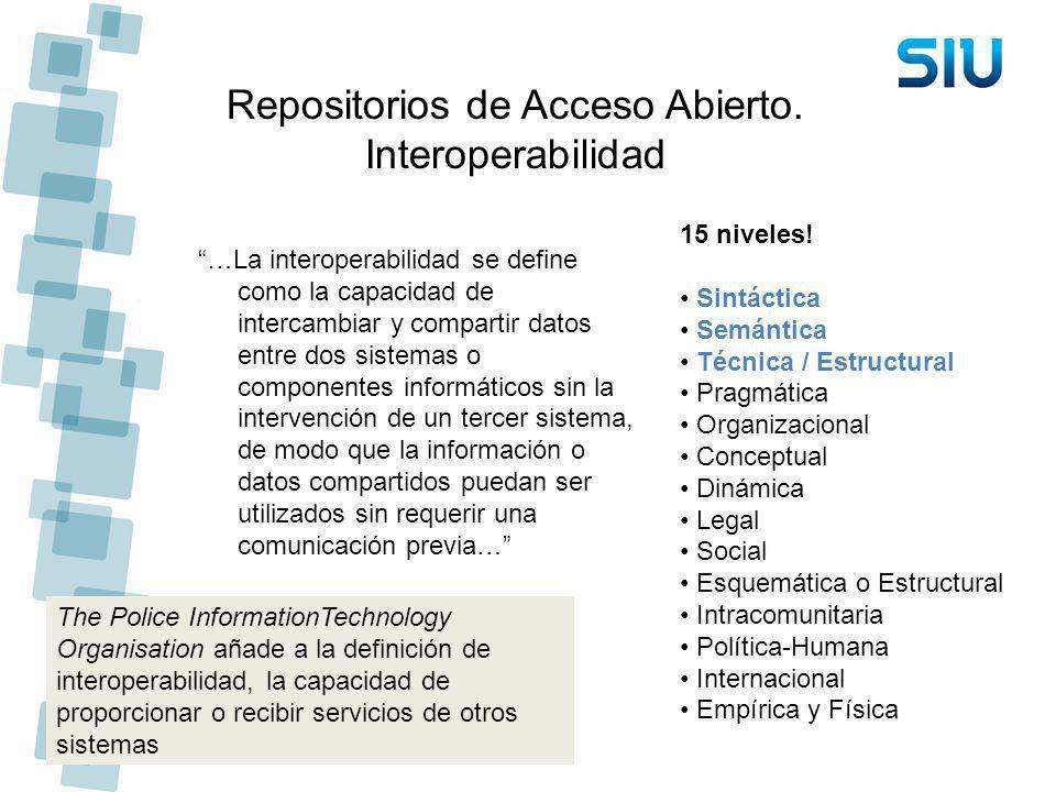 Repositorios de Acceso Abierto. Interoperabilidad