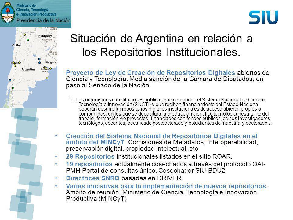 Situación de Argentina en relación a los Repositorios Institucionales.