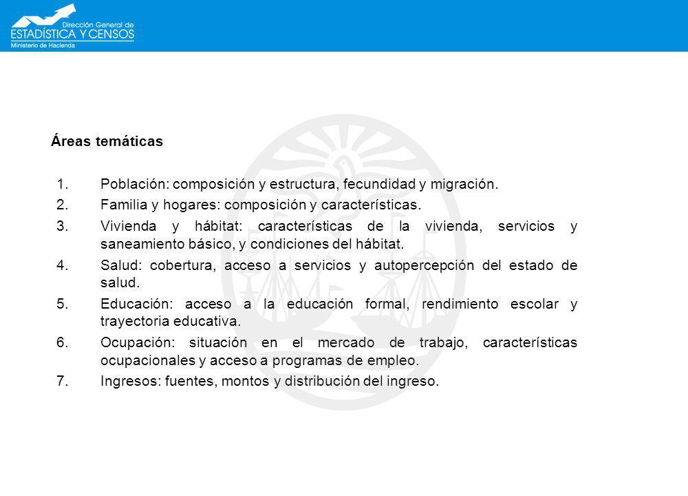 Áreas temáticas Población: composición y estructura, fecundidad y migración. Familia y hogares: composición y características.